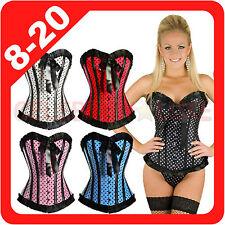 New Burlesque Polka Dots Satin Bridal Corset Fancy Dress Costume Moulin Rouge