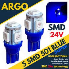 24v Side Light 507 501 W5W 5 SMD Led Blue T10 Hella Spot Capless Bulbs HGV Truck