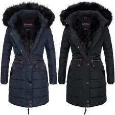 Spindle Women's Designer Warm Winter Parka Quilted Hooded Long Coat Hood Jacket