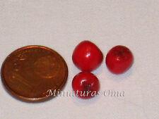 3 Tomates en fimo miniatura 1/12 casas muñecas