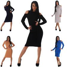 Kleid mit offenen Schultern Langarm Größe Winter Strick Mode elegant lang neu