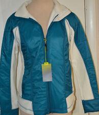 Women's Tek Gear Great Sea Blue & Ivory Fleece Nylon Full Zip Jacket Size Medium