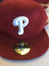 NEW ERA PHILADELPHIA PHILLIES MAROON SUEDE LOOK HAT FLAT BRIM CUSTOM FITTED HAT