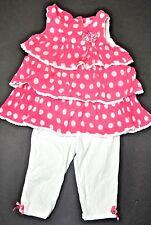 Savannah set girl top shirt 24mon 2T tank polka dot white pink tights ruffles~