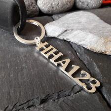 Schlüsselanhänger mit Autokennzeichen in 925er Silber, Schlüsselring