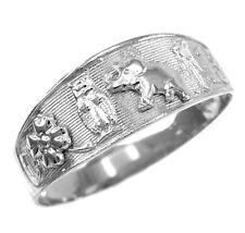 White Gold Lucky Owl, Elephant, Horseshoe, Thirteen, and Flower Unisex Ring