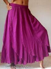 violet maxi skirt M L XL OS 1X 2X 3X 4X 5X 6X plus ruffled flounce elastic waist