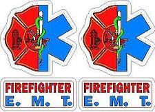 EMT Firefighter Helmet Decal Set (2) Reflective Rescue Sticker SOL Maltese