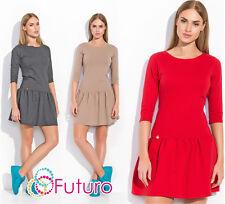 Womens Classic Mini Skater Dress With Zip 3/4 Sleeve Crew Neck Sizes 8-12 FA497