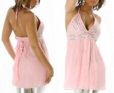 Sexy Miss túnica señora Babydoll top rosa brillo glamour lentejuelas plata 32 34