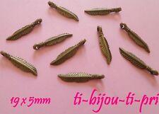 LOT de 14 PENDENTIFS perles breloques BRONZE PLUMES FEATHER 19x5mm bijoux