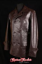 Men's KRIEGSMARINE BROWN German U-Boat Submarine Hide Leather Jacket Pea Coat