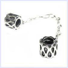 Sterling Silver Teardrop Screw-on Safety Chain Bead for European Charm Bracelet