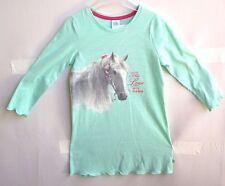 Sanetta Girl Nachthemd lindgrün weiss Motiv Pferde Gr. 104 + 116 UVP 25,95 €