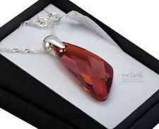 925 Argento Sterling Collana Grande Rosso Magma 39 mm WING cristalli di Swarovski ®