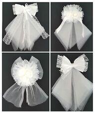 Haarschleife Mädchen Haarschmuck Hochzeit Kommunion Weiß Schleife Haarclip