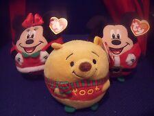 BNWT Ty Beanie Ballz - Disney Christmas - Mickey Mouse, Minnie, Winnie the Pooh