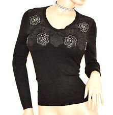 MAGLIETTA NERA donna maglia manica lunga sottogiacca maglione ricamo strass F90
