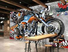 New 3D Wallpaper Mural Motorcycle Street Art Graffiti Wall Home Decoration