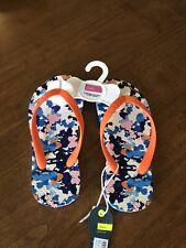 New Joules Girl's Blue Ditsy Flip Flops - Choose Size