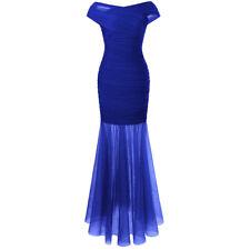 Angel-fashions Gerafft Aus der Schulter Semi-transparent Voile Abendkleid 408