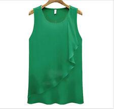 Green Lady's Chaotic Chiffon Top Semi Sheer Wavy Edge Flowy Rippled Edge Shirt