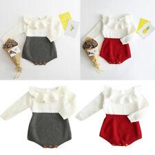 Baby girl romper long sleeve white red grey knit Winter bodysuit Jumpsuit cute