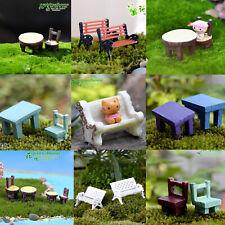 Garden Decor Statues Lawn Ornaments Miniature Sculpture Resin Bench Table Chair