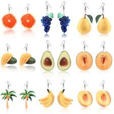 Fruit Earrings Acrylic Peach Coconut Orange Mango Cantaloupe Hook Earrings