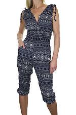 NEW (6339-3) Ladies Summertime Aztec Print Crop Leg Jumpsuit Navy Cream 6-12