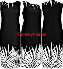 Ex EVANS negro y crema de Palma vestido con elástico en tamaños 18 20 22 24 26 28 RP £ 48