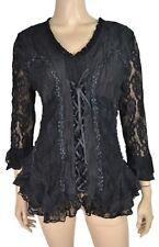 Pretty Angel Victorian Style Blouse Lace Black S M L XL