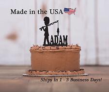 Boy Fishing Cake Topper, Farming, Fishpole, Birthday Topper, Personalized LT1065