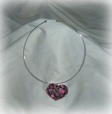 mossy oak pink real tree camo heart pendant choker necklace prom wedding redneck