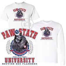 Bouvier Des Flandres Paw State University Short Long Sleeve White T Shirt M-3X