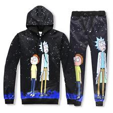 Black 3D Rick and Morty Baseball Sweater Hoodies Tracksuit Sweatshirt Jogger Hot