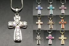 SWAROVSKI Crystal Designer CROSS Pendant Necklace Gold Silver Plain Ladies Gift