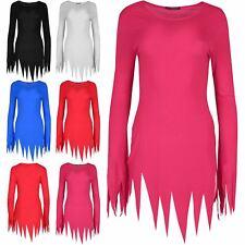 Womens Halloween Spikes Sleeve Lazer Zigzag Cut Scary Ladies Bodycon Mini Dress