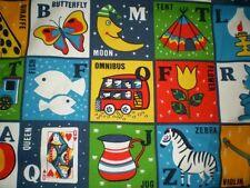 Vintage ALPHABET / ANIMAL,OMNIBUS,DRUM,TENT Themed Fabric (62cm x 64cm)