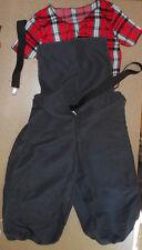 NWOT HIp Hop Costume Dance Suspendars Plaid t shirt red/blk Supplex medium child