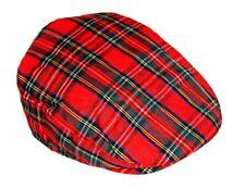 Tartan Écossais Style Casquette UK Classique Plat Casquette Carreaux Rouges