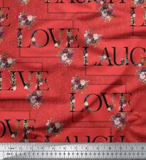 Soimoi Fabric Floral Love Text Printed Fabric 1 Meter-TX-519L