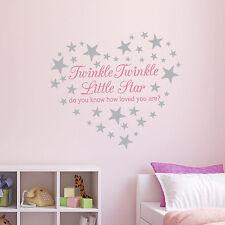 Pink Twinkle Twinkle Little Star Wall Sticker/ Nursery Decal /60 silver stars