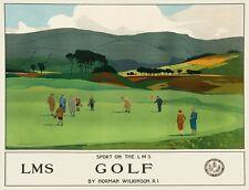 TX287 Vintage Sport On LMS GOLF Railway British Travel Poster Re-Print A2/A3/A4