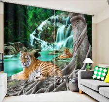 3D Blockout Window Curtain-Tiger Waterfall Tree Nature Scenic-Fabric Drape 172