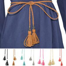 Women Lady Vintage Skinny Braided Belt Faux Leather Knot Tassel Dress Waistband