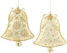 Lot de 2 gold & ivory cloches tissu décorations pour arbres de noël neuf 18552