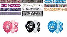 80th Cumpleaños Pancartas Rosa Azul Negro Decoraciones de fiesta de múltiples