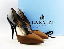 """LANVIN SUPER COMFORTABLE LUXURY BEIGE & BLACK 4,5"""" HEEL SHOES ITALY # 24 NEW"""