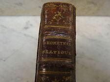 1775 Antique Leather Geometry Math Book La Geometrie pratique de l'Ingenieur
